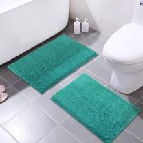 MAYSHINE 16x24 Inches Non-Slip Bathroom Rug Shag Shower Mat Machine-Washable Bath Mats with Water Absorbent Soft Microfibers, 2 Pack, Turquoise