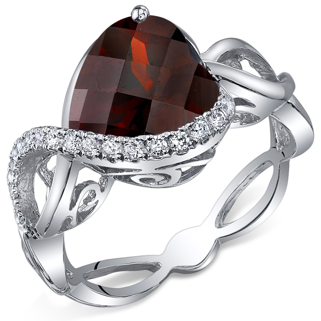 4.00 Carats Garnet Ring Sterling Silver Heart Shape Swirl Design Sizes 5 to 9