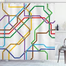 """Ambesonne Map Shower Curtain, Stripes in Vibrant Colors Metro Scheme Subway Stations Abstract Railroad Transportation, Cloth Fabric Bathroom Decor Set with Hooks, 70"""" Long, Red Green"""