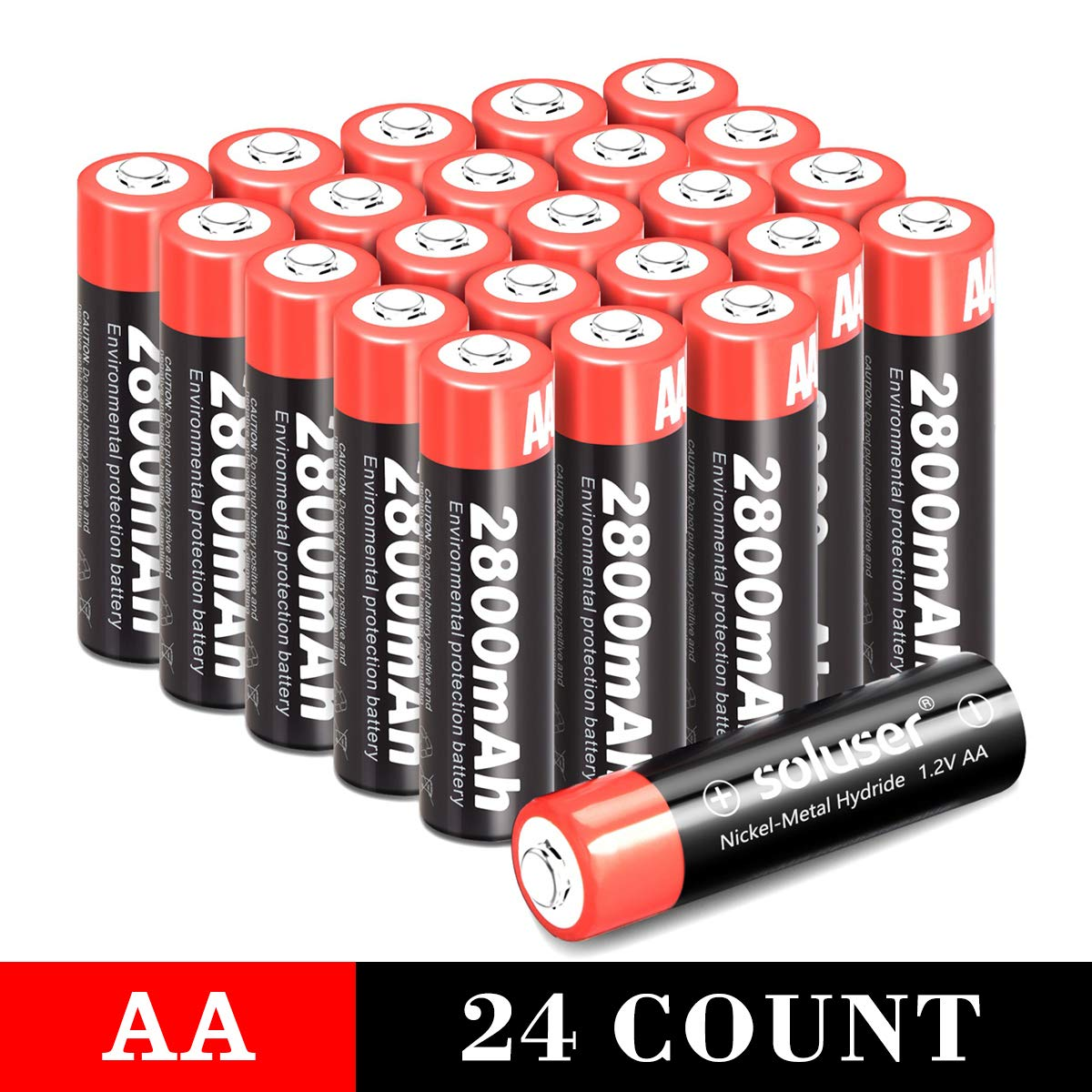 AA Rechargeable Batteries 2800mAh Rechargeable AA Batteries AA High-Capacity AA Batteries Rechargeable 1.2V Ni-MH Low Self Discharge 24-Pack