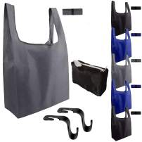 ReusableX-Large Shopping Bags ( 6 Pk) BIRCH & BLISS Machine Washable Grocery Bag Tote Set w/ Portable Zipper Storage Pouch + 2 Car Headrest Hooks -Heavy Duty Ripstop Easy Roll-up Design
