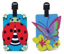 PUZZLED TAGGAGE! BUTTERFLY AND LADYBUG LUGGAGE TAG 3.5X5 INCH