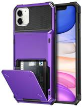 SAMONPOW Credit Card Holder Case for iPhone 11 Case with 4 Card Holder Hard PC Soft Hybrid Rubber Anti Scratch Shockproof Heavy Duty Cover for iPhone 11 6.1 inch Purple
