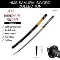 HMS Fully Functional Hattori Hanzo Kill Bill Bill's Katana Sword, Iron Tsuba, 1045 Carbon Steel, Hand Forged Heat Tempered, Full Tang, Sharp, Black Scabbard
