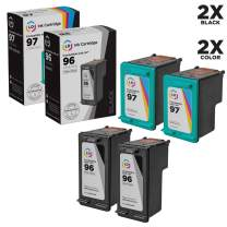 LD Remanufactured Ink Cartridge Replacements for HP 96 & HP 97 (2 Black, 2 Color, 4-Pack)
