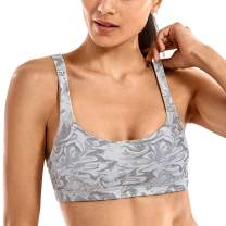 CRZ YOGA Women's Medium Support Sports Bra Strappy Back Wirefree Removable Cups Yoga Bras