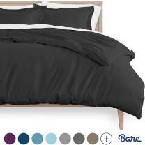 Bare Home Duvet Cover and Sham Set - Queen Size - Premium 1800 Ultra-Soft Brushed Microfiber - Hypoallergenic, Easy Care, Wrinkle Resistant (Queen, Charcoal)