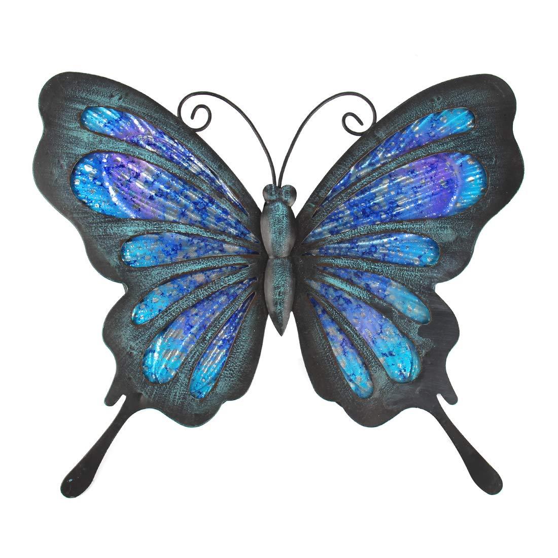 HONGLAND Metal Butterfly Wall Decor Outdoor Indoor Art Sculpture Hanging Glass Decorations Blue for Home Garden Bedroom