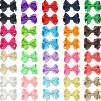 """QtGirl 40pcs 2.5"""" Pigtail Mini Hair Bow Alligator Clips with Hairbows Holder Hair Clips Hanger for Babies Girls Kids Toddlers in Pair"""
