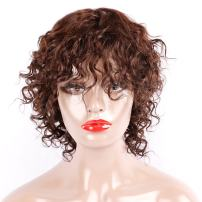 100% Human Virgin Hair Wig Brown Short Curly Wigs with Bangs Water Wave Short Wigs for Black Women 150% Density 7 Inches