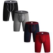 Nuofengkudu Men's Cotton Boxer Briefs Long Leg Underwear Assorted Colors