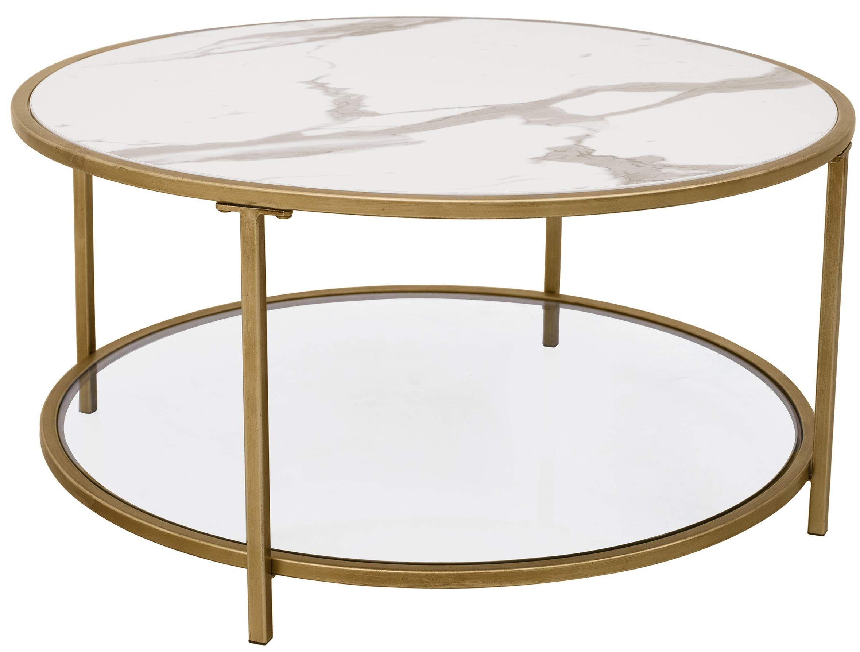 "Amazon Brand – Ravenna Home Parker Round Shelf Storage Coffee Table, 31.5""W, Faux Marble/Gold/Glass"