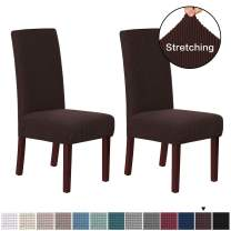 H.VERSAILTEX Stretch Dining Chair Covers Set of 2 Chair Covers for Dining Room Parsons Chair Slipcover Chair Protectors Covers Dining, Feature Textured Checked Jacquard Fabric, Chocolate