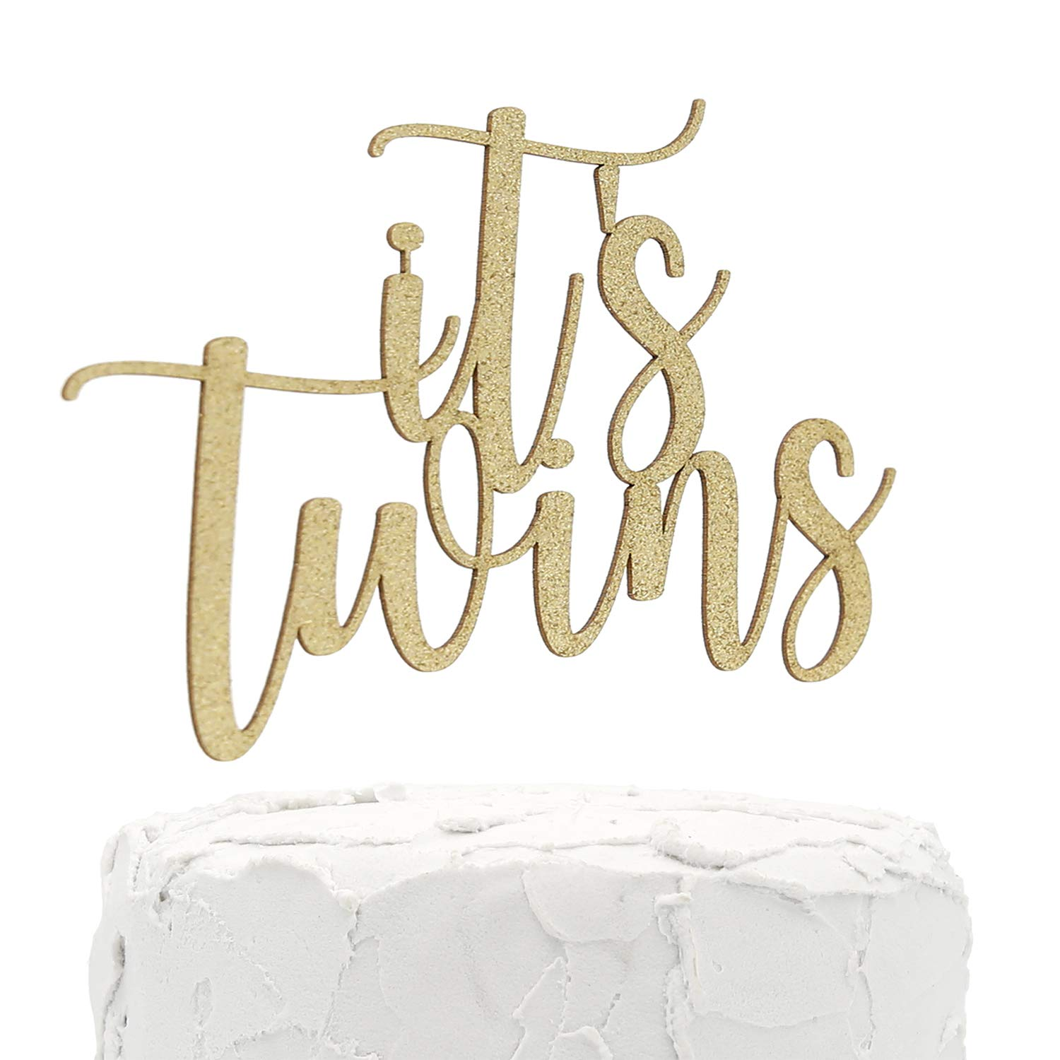 NANASUKO Baby Shower Cake Topper - it's twins - Double Sided Gold Glitter - Premium Quality Made in USA (it's twins)