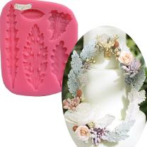 Anyana Acanthus Leaves Silicone Mold tree leaf Fondant Mold scroll Cake Border decoration Cupcake Silicone Lace Mat Mold Decoration Tool Non stick easy to use