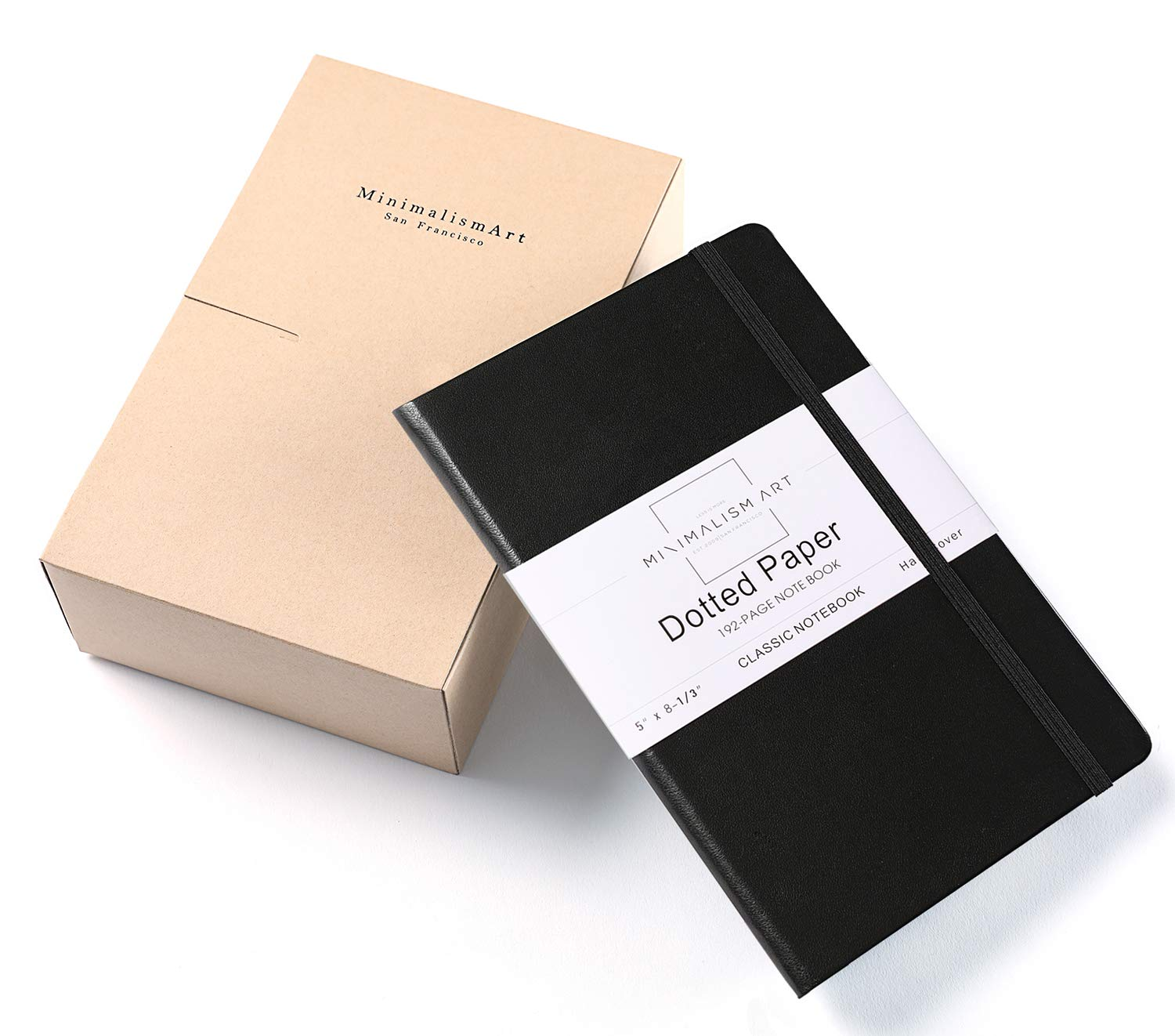 Minimalism Art, 3-Pack Classic Notebook Journal, A5 Size 5 X 8.3 inches, Black, Dotted Grid Page, 192 Pages, Hard Cover, Fine PU Leather, Inner Pocket, Quality Paper-100gsm, Designed in San Francisco
