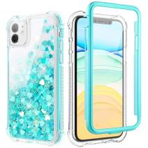 Caka Case for iPhone 11 Glitter Case Liquid Full Body Protective Shockproof Girly Girls Women Bling Shining Love Flowing Floating Luxury Heavy Duty Clear Phone Case for iPhone 11 (2019)(Teal)