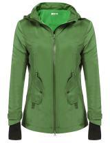 Meaneor Women Lined Long Sleeve Zip Up Hooded Waterproof Rain Jacket