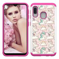 Lantier High Impact Heavy Duty Hybrid TPU Plastic Dual Layer 2 in 1 Slim Hard PC Soft Silicone Armor Defender Shockproof Protection Case Cover for Samsung Galaxy A20E/A10E Unicorn Pink