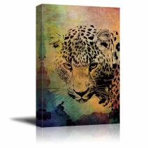 wall26 - Animal Theme Canvas Wall Art - A Leopard on Vintage Abstract Background with Watercolor Splash - Giclee Print Gallery Wrap | Modern Home Decor Stretched & Ready to Hang - 24x36 inches