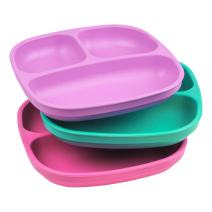 Re-Play Made in USA 3pk Divided Plates with Deep Sides for Easy Baby, Toddler, Child Feeding - Purple, Aqua & Pink (Sparkle)