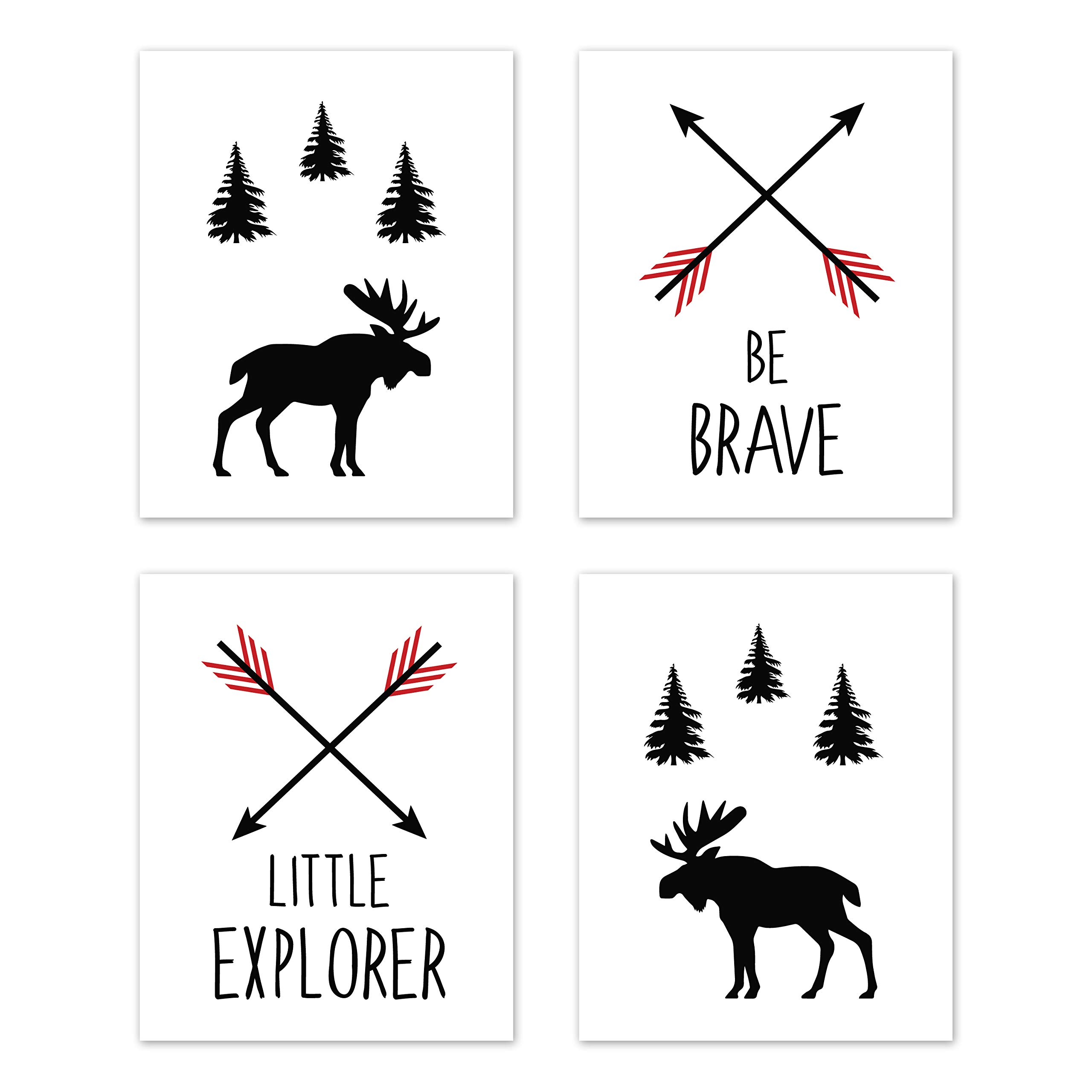 Sweet Jojo Designs Red and Black Woodland Arrow Moose Wall Art Prints Room Decor for Baby, Nursery, and Kids for Rustic Patch Collection - Set of 4 - Be Brave Little Explorer