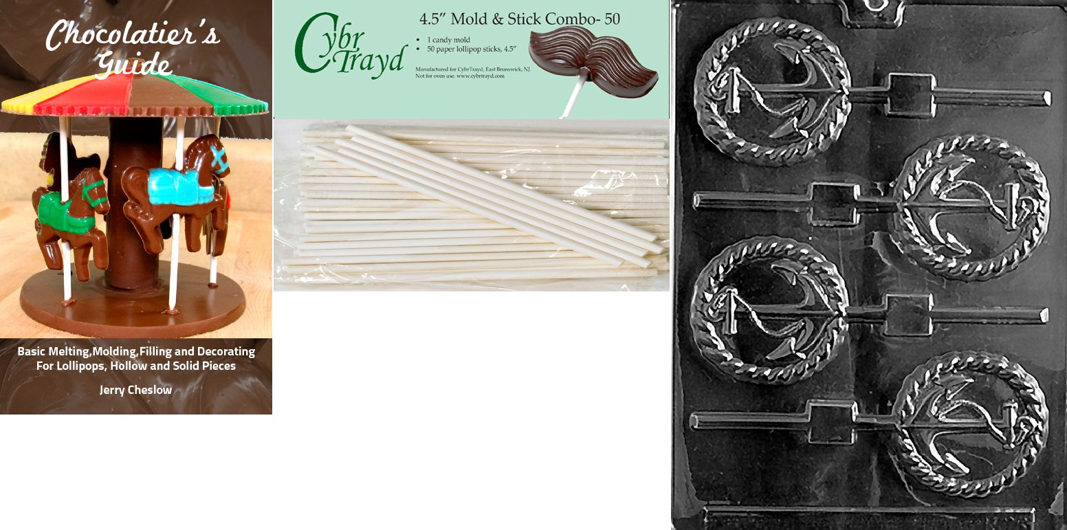 Cybrtrayd 'Anchor Lolly' Nautical Chocolate Candy Mold with 50 4.5-Inch Lollipop Sticks and Chocolatier's Guide