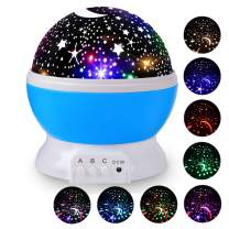 Sanlinkee Night Light Projector for Kids,Nightlight for Children with 8 Colors & 4 LED Heads,360° Rotation Light for Nursery, Bedroom (Blue, Classic Moon Star Night Light)