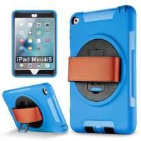 iPad Mini 5, iPad Mini 4 case, eSamcore Shockproof 360 Degree Rotating Leather Handle Grip and Kickstand Case with Built in HD Screen Protector for Apple iPad Mini 4 and iPad Mini 5 [Blue]