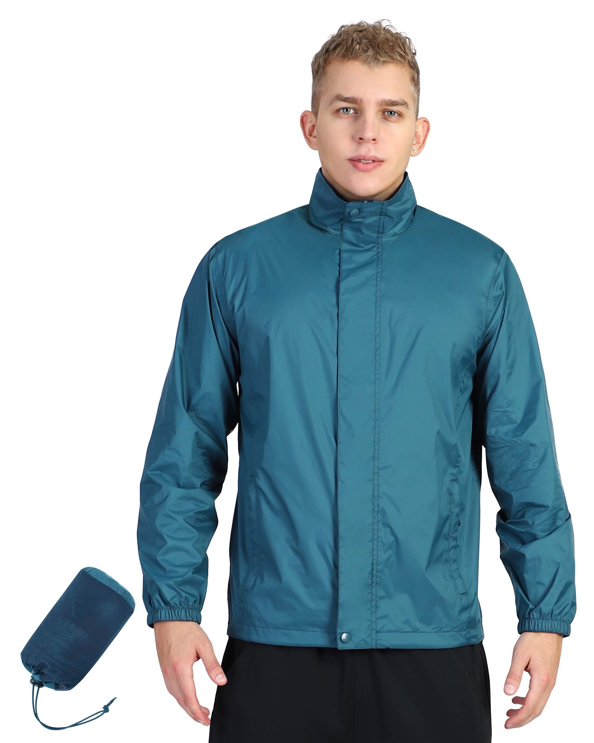 Outdoor Ventures Men's Lightweight Raincoat Packable Rain Jacket Waterproof Raincoat with Hood Active Outdoor Windbreaker