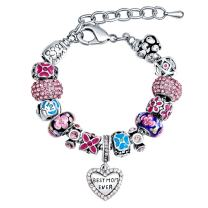 MANBARA Charm Bracelets for Women DIY Jewelry Family Themed Charming Rhinestone Glass Love Heart Shape Engraved Beads Mother Daughter Son Aunt Gifts