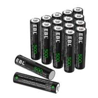EBL AAA Rechargeable Batteries, 500mAh Ni-CD Solar Lights Battery (Pack of 16)