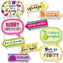 Funny Tutti Fruity - Frutti Summer Baby Shower or Birthday Party Photo Booth Props Kit - 10 Piece
