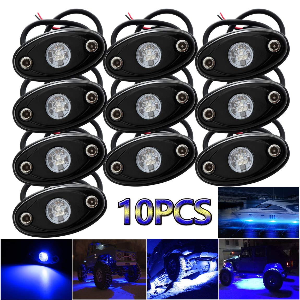 LEDMIRCY LED Rock Lights Blue Kit for JEEP Off Road Truck ATV SUV Boat Car Auto High Power Underbody Glow Neon Trail Rig Lights Underglow Lights Waterproof Shockproof(Pack of 10,Blue)