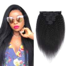 Clip in Hair Extensions Kinky Straight Hair 100% Remy Human Hair 130 Gram Silky Kinky Straight Short Thick Real Yaki Human Hair Extensions for Black Women(18Inch,#1B Natural Black)