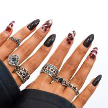Campsis 24PCS Fake Nails Glossy Stiletto Nails Gothic Full Cover Acrylic False Nail Art for Women and Girls
