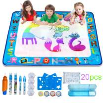 "Gifts2U Doodle Mat, 39.5"" x 31.5"" Water Drawing Doodle Mat with Magic Pens Educational Toys Aqua Magic Mat for Age 2 3 4 5 6 7 8 9 10 11 12 Year Old Girls Boys Kids"