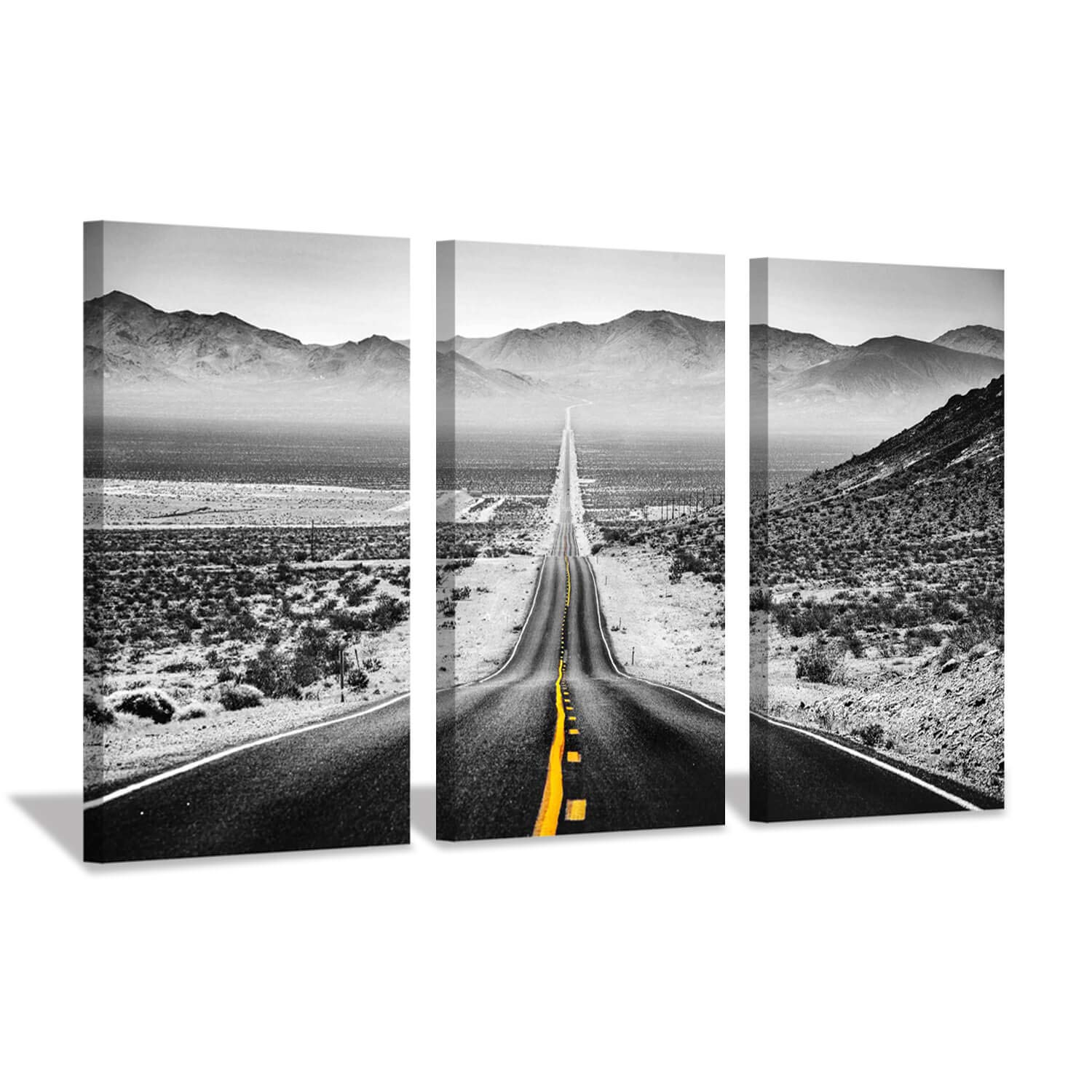 Hardy Gallery Road Canvas Picture Wall Art: Winter Mountain Painting Landscape Artwork Print on Canvas for Living Room (26'' x 16'' x 3 Panels)