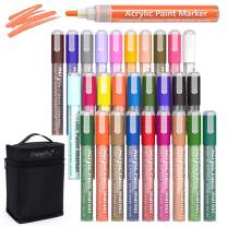 Acrylic Paint Markers for Rocks Painting, Magicfly 28 Colors Water-Based Acrylic Paint Pens for Halloween & Pumpkin Decorating, DIY Craft Projects, Canvas, Wood, Glass, Paper, Ceramic, Fabric
