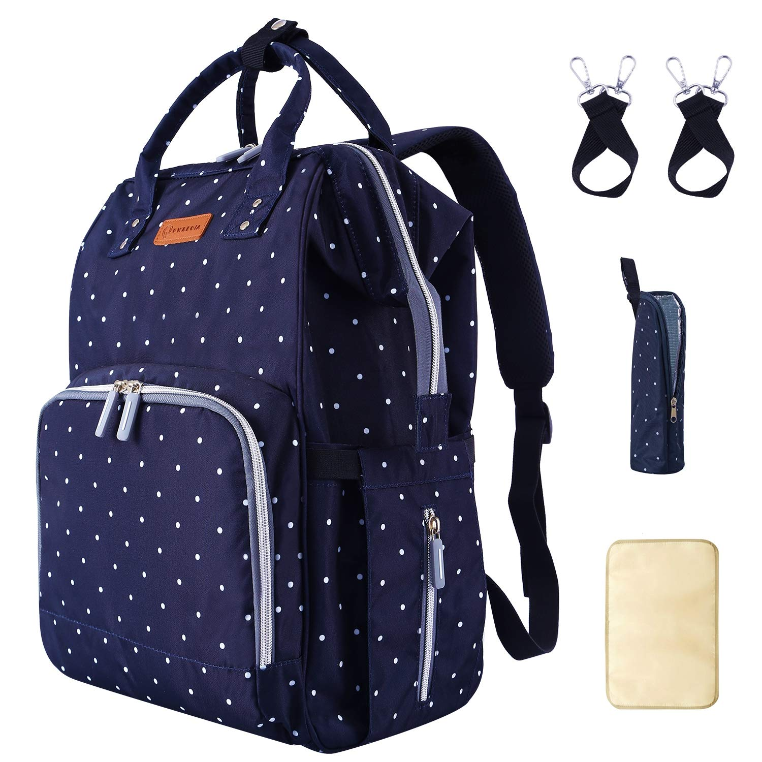 Diaper Bag Backpack for baby with USB Charging Port Stroller Straps Insulated Pocket and Changing Pad For Women/Girls/Mum/Toddler Polka Dot Blue by Qwreoia …
