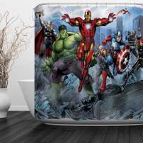 "Baccessor Super Hero Shower Curtain Spider Man, Hulk, Captain America, Black Panther and Iron Man Marvel Fans Favorite American Hero for Boys, 60"" W x 72"" H (150CM x 180CM) - Super Hero"