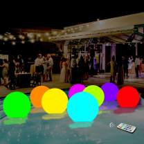 Pool Toys 13 Colors Glow Ball 16'' Inflatable LED Light Up Beach Ball with Remote, Glow in The Dark Party Supplies, for Beach Indoor Outdoor Games and Decorations, 1PCS
