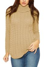 Viottiset Women's Turtleneck Cable Knit Sweater Pullover Long Sleeve Jumpers