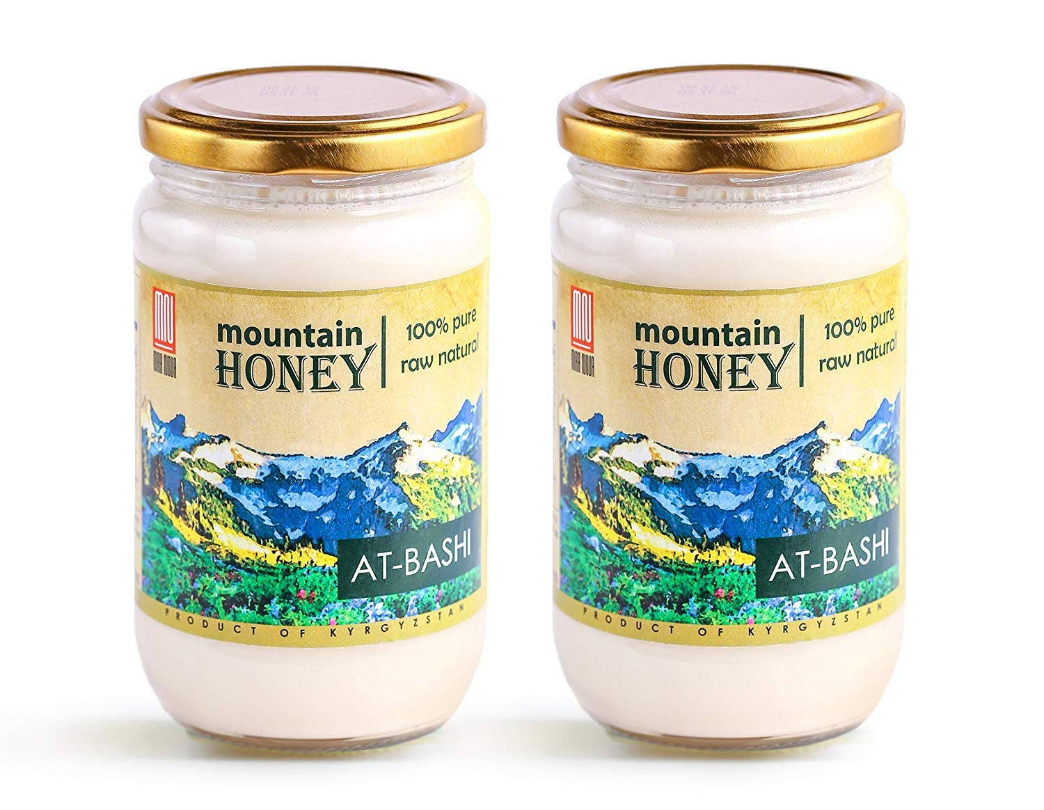 Raw White Honey; Natural Organic Creamed Wildflower Mountain Honey from Central Asia – Unheated & Unfiltered - Contains Natural Enzymes, Pollen & Propolis – by Mira Nova (2-PACK)