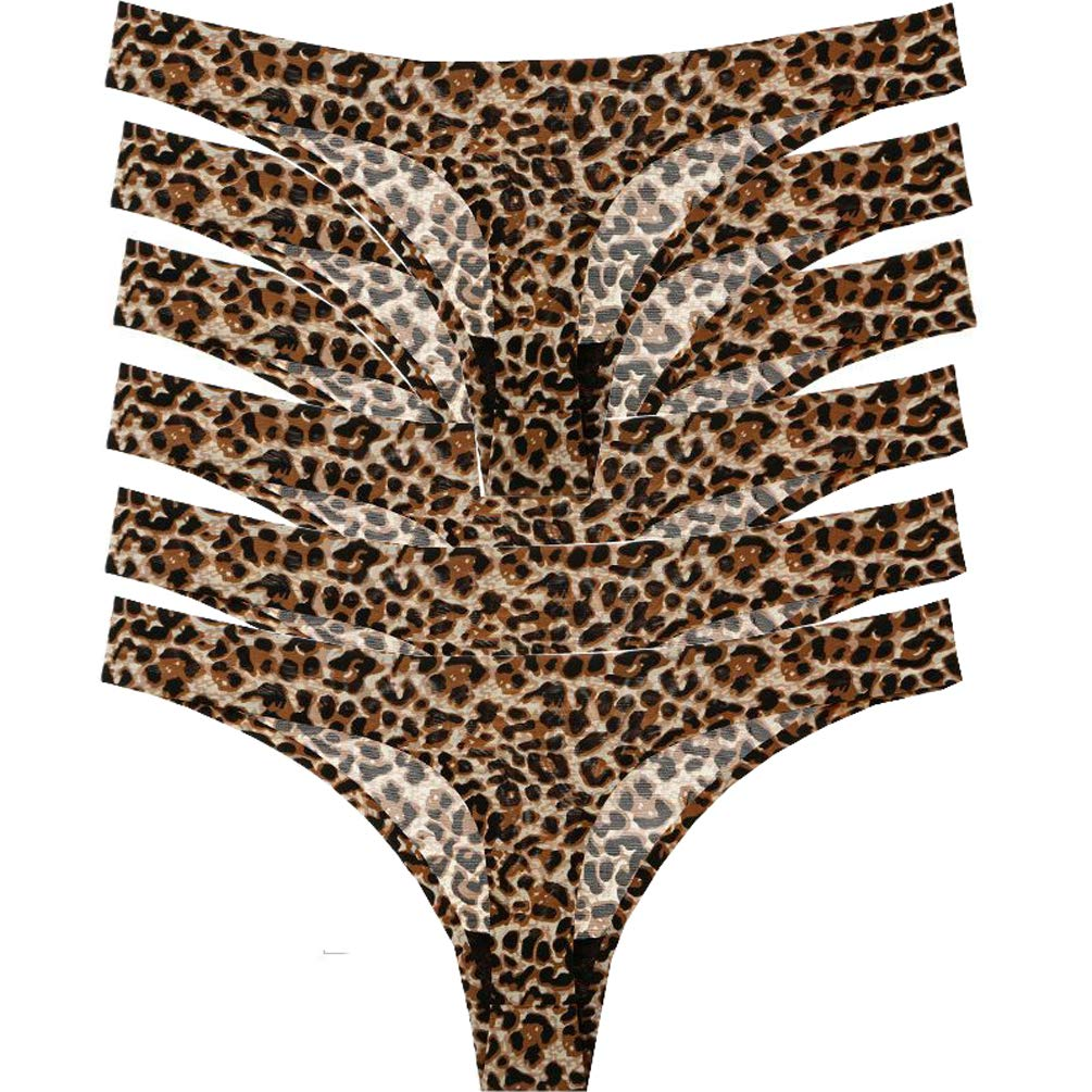YCandJY 6 Pack Women's Seamless Leopard Thongs Underwear,Breathable Comfortable T Back Low Waist Sexy Thong Panties