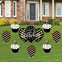 Big Dot of Happiness Adult Happy Birthday - Gold - Cupcake and Balloon Yard Sign & Outdoor Lawn Decorations - Birthday Yard Signs - Set of 8