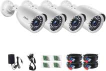 ZOSI 4 Pack 2MP 1080p 1920TVL HD-TVI Security Camera Weatherproof Outdoor Indoor,24PCS LEDs,80ft Night Vision Surveillance CCTV Bullet Camera (Renewed)