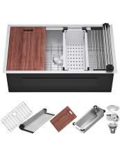 "X Home 33""x 19"" Inch Undermount Kitchen Sink, Stainless Steel Workstation Kitchen Sink,16 Gauge Single Bowl with Accessories, All in One Deep Sink"