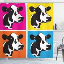 """Ambesonne Cattle Shower Curtain, Pop Art Style Cow Head Portraits Composition in Vibrant Colors Graphic Illustration, Cloth Fabric Bathroom Decor Set with Hooks, 75"""" Long, Pink Yellow"""