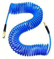 """YOTOO Polyurethane Recoil Air Hose 1/4"""" Inner Diameter by 50' Long with Bend Restrictor, 1/4"""" Industrial Quick Coupler and Plug, Blue"""